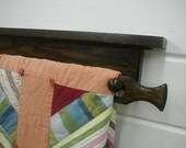Oak Hardwood Wall Mounted Dark Chocolate Quilt Rack