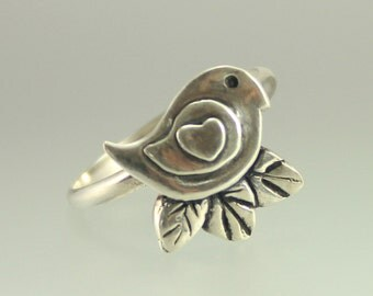 Bird Ring - Bird Jewelry - Cute Bird Ring - Bird Nest Jewelry - Birds - Love Birds - Birds Jewelry -  Feathers - Bird in a Tree