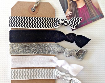 Little Black Dress Set of 5 Satin FOE Hair Ties //  Black Chevron Silver Glitter Gray Chevron Non Marking Hairties Bracelet Custom Hair Ties