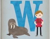 W is for Walrus - Customizable 8x10 Alphabet Art Print