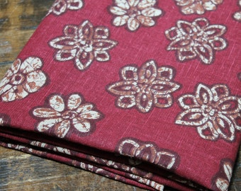 Floral Canvas Fabric canvas linen weave Cotton Fabric wine maroon red tan beige brown retro batik look canvas linen weave cotton Fabric 1.4y