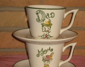 Mom & Dad Cups Saucers Continental Kilns Hand Painted USA Mid Century Dishes Set 4 Piece Rare Stamped Marked Kitsch Kitschy Gift