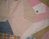 Lap Quilt Childs Early Fabrics Table Topper Layer Over Layer Cotton Crazy Quilt 1920 1930 1940s 1950s Shirtings Indigo Striped Plaid Fabrics