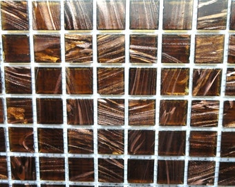 20mm (3/4 in.) Dark Brown with Gold Streaks Glass Mosaic Tiles//Mosaic Supplies//Mosaic