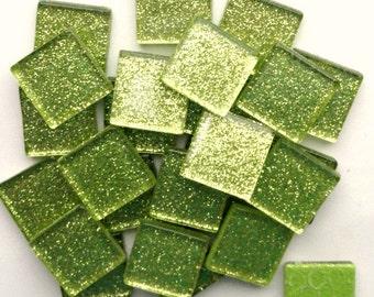 CLEARANCE 20mm Lime Chartreuse Apple Green Glitter Metallic Mosaic Tiles// Mosaic Supplies//Craft Supplies