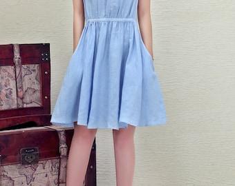 Maxi Dress Loose Fitting Sundress Short Sleeve Summer Dress in Blue - Q1118