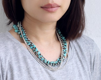 Turquoise Long Wrap Silver Necklace