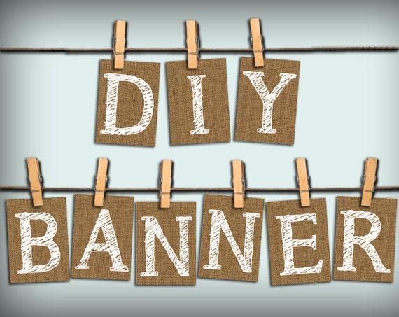 Diy alphabet letters banner sign printable pdf instant for Diy letter banner