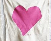 SALE Tea Towel Heart in Hot Pink