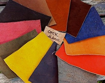 Dyed colors cork fabric, Linear meter, unique Portuguese vegetable leather, eco craft supplies in cork shop, great for sewing, made to order