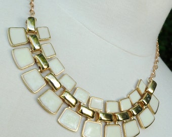 Ivory and Gold Statement Necklace - Stunning Ivory Enamel Bib Necklace