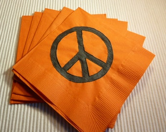 Peace Sign/Symbol Paper Cocktail/ Lunch/ Dinner Napkins - 60's Party - Orange and Black