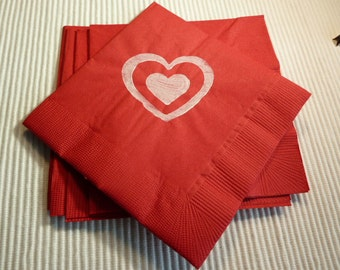 Double Heart Paper Cocktail/ Luncheon/ Dinner Napkins - Red and White