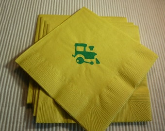 Small Train Paper Cocktail/ Luncheon/ Dinner/ Beverage Napkins - Yellow and Green