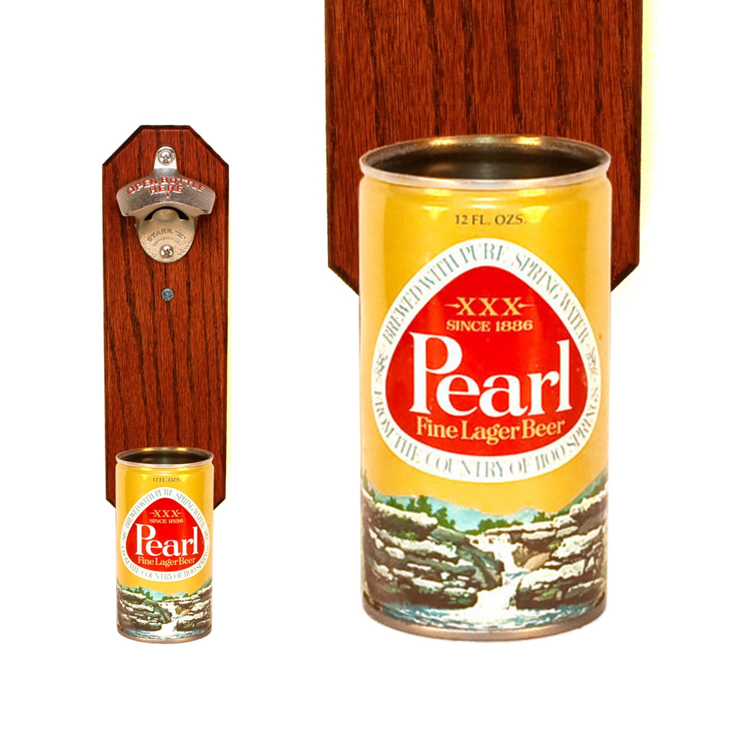 Pearl Wall Mounted Bottle Opener With Vintage Beer Can By