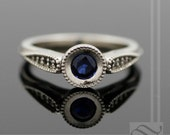 Midnight Blues and Diamond Hover Engagement Ring - 14k White Gold