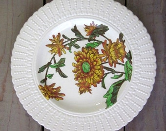 Vintage English China Plate with Yellow Sunflower