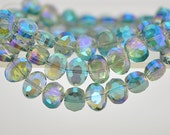 68pcs Oval Crystal Glass Faceted beads Green Sparkle 12mm -(TS02-6)