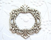 Antiqued  silver plated Rococo style framework stamping (1) -AC116
