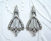 2 - Art Deco 2-ring connector earring pendant stampings- DT168