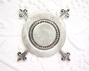 2 - Antiqued silver CB pronged setting for 25mm cabochon - RR121