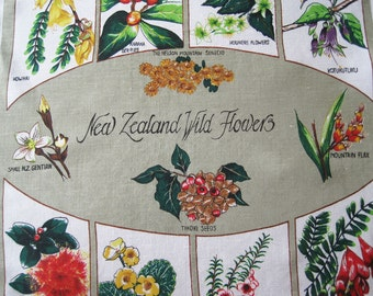 Vintage Souvenir Tea Kitchen Dish Towel New Zealand Wild Flowers