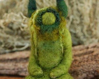 Horned God, Green Man sculpture, Wiccan Altar, Needle felted , Cernunnos, Design by Borbala Arvai, made to order