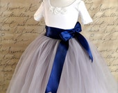 Dove grey and navy Flower Girl tutu skirt -- sewn and long.