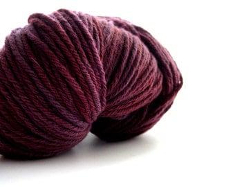 Organic Wool Yarn Worsted 12Ply 200g (7oz) Berry Smooth Cranberry Burgundy