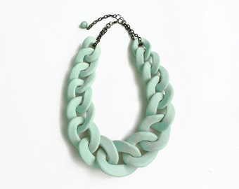 Mint Oversized Chain Necklace, Chain Link Necklace, Mint Statement Necklace, Bib Necklace