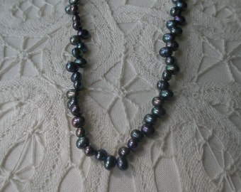 Vintage Dyed Rainbow Purple and Gunmetal Color Fresh Water Pearls Choker Necklace