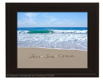 SALE  Buy One Frame Get Second Half off Names Written in Sand Unique Housewarming Gift