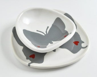 set of 2 ceramic dishes - grey hairstreak butterfly