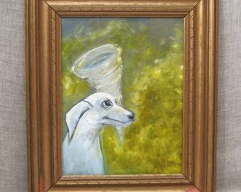 Original Fine Art Dog Portrait Painting, Wil Shepherd Studio, Animal, Pet Portraiture , Little White Dog, Tornado, Hand Painted, Framed