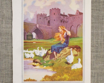 Antique Fairy Tale Book Plate, The Goose Girl, Color Plate, Childrens Stories, Collage, Mixed Media, Art Supply, Craft Supplies, Geese, Bird