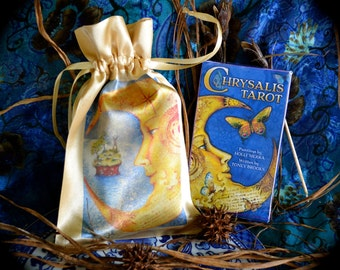 Chrysalis Tarot Deck - Satin Drawstring Pouch - Chrysalis Greeting Card