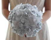SALE-Designer Wedding Bouquet - Bridal Arrangement in Silver and White - One of a Kind