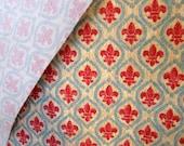Fleur de Lis Screenprint Upholsterly Fabric by Anju  Woodbridge, 1996, 3 YDs