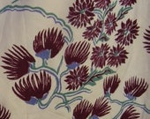 """Vintage 40s Maroon Flowers on Cream Hollywood Hand Print Brighton Fabric by Walter, 43"""" x over 4 Yds"""