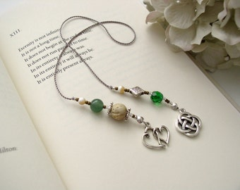 Celtic Knot Bookmark in Soapstone and Emerald Green - Beaded Bookmark Book Thong in Kelly Green Glass and Soapstone - Irish Charm and Hearts