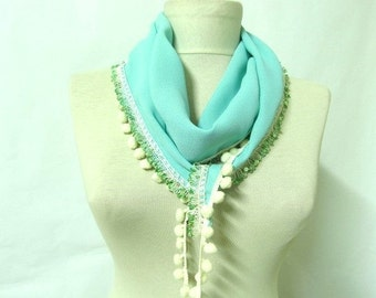 Mint scarf - Fringed Guipure Scarf - chiffon Lace Scarf - pom pom scarf - Cowl Scarf - Long Scarf -Valentines day gift
