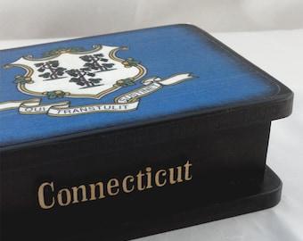 WoodenBoxStateFlagConnecticutKeepsakeBox