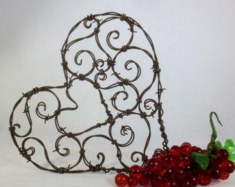 "Beautiful 12""  Spirillian Barbed Wire Heart of Spirals - Rustic Wedding Decor"