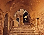 Jerusalem Stairway - 8x10 fine art photo - Old City - Arched Stone Staircase - Israel Travel Photography - Holy Land - Made in Israel