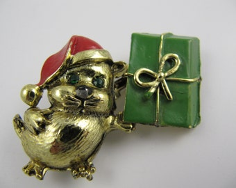 Vintage Christmas Mouse with Present Brooch Gerbil Guinea Pig Gift Goldtone 1960's