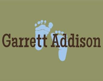 Nursery Wall Decal Custom Name Wall Art Baby Feet