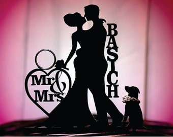MADE In USA, Dog + Bride + Groom Personalized Silhouette Wedding Cake Topper + Dog Mr & Mrs Monogram Cake Topper Bride and Groom Cake Topper