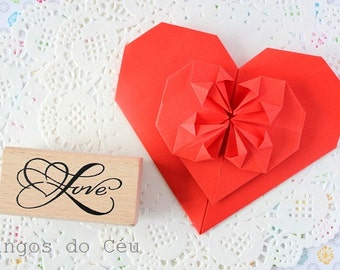 Heart Love Stamp - Wooden rubber stamp - 1 unit - Ready to Ship