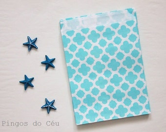 12 pcs - Moroccon Style - Blue Favor Paper Bags - Treat Bags - Favor Bags - Party Supplies - Product Packaging - Ready to ship