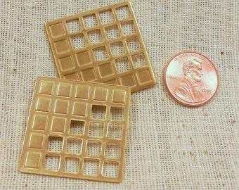 Vintage Solid Brass Square Waffle Abstract Drop (4) Retro, Deco